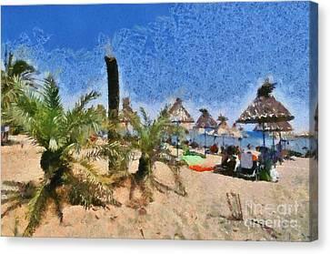 Greek Canvas Print - Painting Of Vai Beach by George Atsametakis