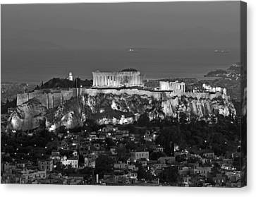 Athens Canvas Print - View Of Acropolis From Lycabettus Hill by George Atsametakis