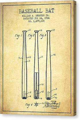 Vintage Baseball Bat Patent From 1924 Canvas Print by Aged Pixel