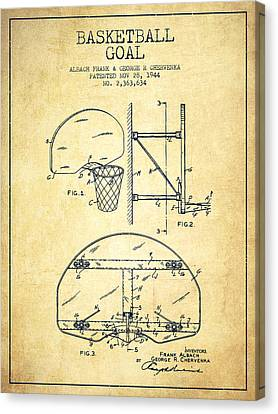 Dunk Canvas Print - Vintage Basketball Goal Patent From 1944 by Aged Pixel
