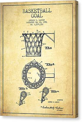 Nba Drawings Canvas Print - Vintage Basketball Goal Patent From 1951 by Aged Pixel