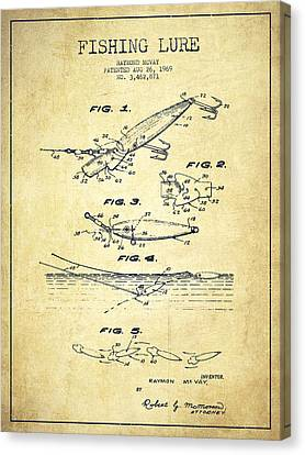 Vintage Fishing Lure Patent Drawing From 1969 Canvas Print by Aged Pixel