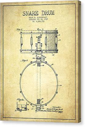 Drummer Canvas Print - Snare Drum Patent Drawing From 1939 - Vintage by Aged Pixel