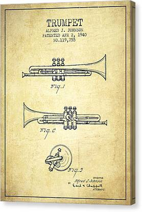 Vintage Trumpet Patent From 1940 - Vintage Canvas Print by Aged Pixel