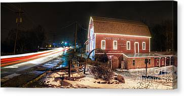 Yates Cider Mill At Christmas Canvas Print by Twenty Two North Photography