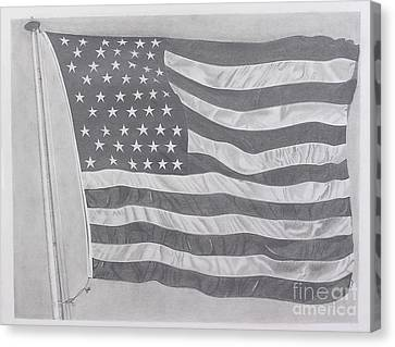 Canvas Print featuring the pastel 50 Stars 13 Stripes by Wil Golden