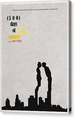 Movie Poster Canvas Print - 500 Days Of Summer by Inspirowl Design