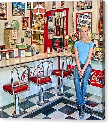 Linoleum Canvas Print - 50s American Style Soda Fountain by David Smith