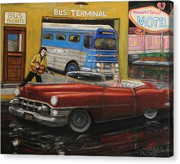 50s Bus Stop Sold Prints Avail Canvas Print by Larry E Lamb