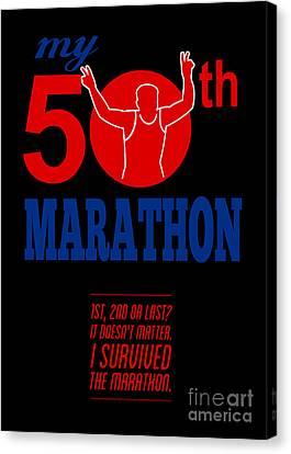 50th Marathon Race Poster  Canvas Print by Aloysius Patrimonio