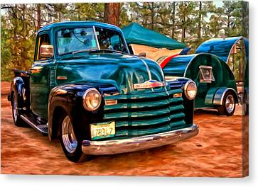 '51 Chevy Pickup With Teardrop Trailer Canvas Print by Michael Pickett