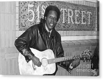 Canvas Print featuring the photograph 51st Street Subway Musician by John Telfer
