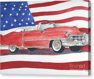 Canvas Print featuring the painting 52 Cadillac Convertible by Eva Ason
