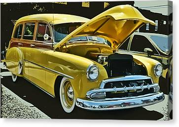 Canvas Print featuring the photograph '52 Chevy Wagon by Victor Montgomery