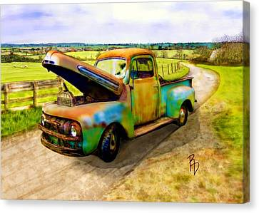 52 Ford F3 Pick-up Truck Canvas Print by Ric Darrell
