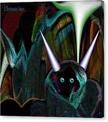 527 - Little Alien Being Canvas Print by Irmgard Schoendorf Welch