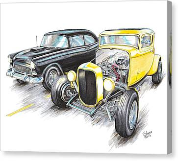55 Chevy 32 Ford Racing Canvas Print by Shannon Watts
