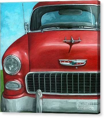 55' Vintage Red Chevy Canvas Print by Linda Apple