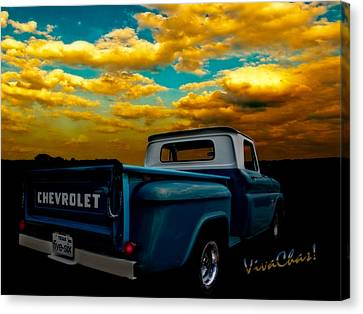 56 Chevy Truck And The Lake Canyon Sunset Canvas Print by Chas Sinklier
