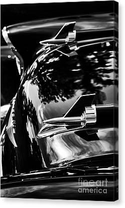 57 Chevrolet Hood Rockets Monochrome Canvas Print by Tim Gainey