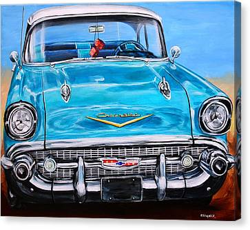 57 Chevy Canvas Print - '57 Chevy Front End by Karl Wagner