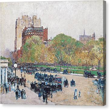 Spring Morning In The Heart Of The City Canvas Print by Childe Hassam