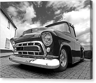 57 Stepside Chevy In Black And White Canvas Print by Gill Billington