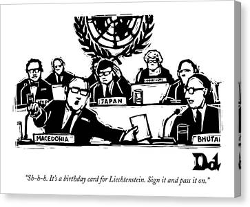 Sh-h-h. It's A Birthday Card For Liechtenstein Canvas Print