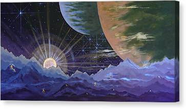 Canvas Print featuring the painting Cosmic Light Series by Len Sodenkamp