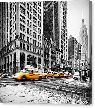 Black And Yellow Canvas Print - 5th Avenue Yellow Cab by John Farnan