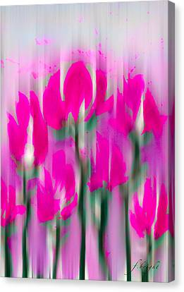 Canvas Print featuring the digital art 6 1/2 Flowers by Frank Bright