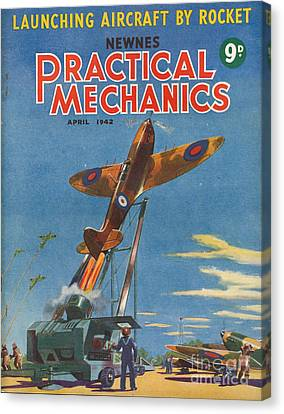 1940s Uk Practical Mechanics Magazine Canvas Print by The Advertising Archives