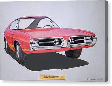 Virgil Canvas Print - 1967 Barracuda   Plymouth Vintage Styling Design Concept Rendering Sketch by John Samsen