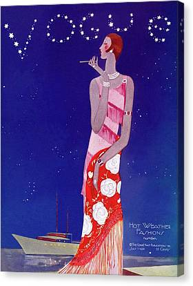 Magazine Canvas Print - A Vintage Vogue Magazine Cover Of A Woman by Eduardo Garcia Benito