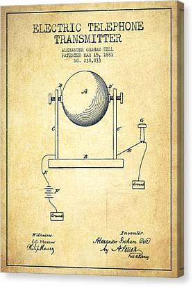 Alexander Graham Bell Electric Telephone Transmitter Patent From Canvas Print by Aged Pixel