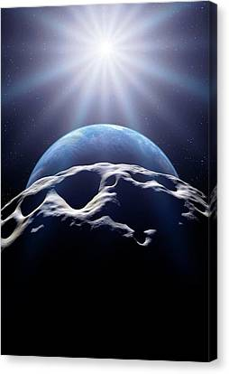Planetoid Canvas Print - Asteroid Approaching Earth by Detlev Van Ravenswaay