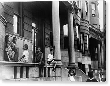 Side Porch Canvas Print - Chicago Children, 1941 by Granger