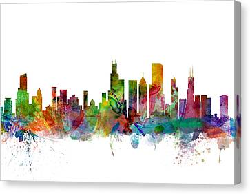 Silhouettes Canvas Print - Chicago Illinois Skyline by Michael Tompsett