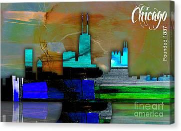 Chicago Skyline Watercolor Canvas Print