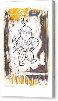 Chinese Folk Stylised Pop Art Drawing Poster Canvas Print by Kim Wang
