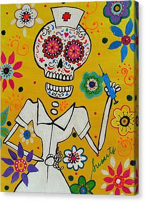 Hot Nurses Canvas Print - Dia De Los Muertos Nurse by Pristine Cartera Turkus