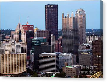 Downtown Skyline Of Pittsburgh Pennsylvania Canvas Print by Bill Cobb