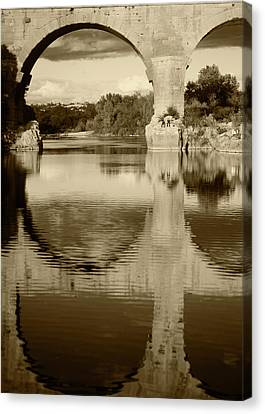 France, Languedoc, Gard, View Of Pont Canvas Print