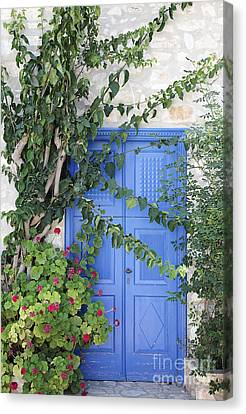Greek Door Canvas Print by Neil Overy