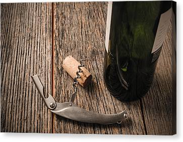 Winery Canvas Print - Green Wine Bottle And Cork With Red Wine And Corkscrew by Brandon Bourdages