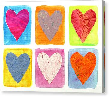 6 Hearts Collage Canvas Print