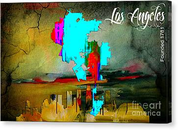 Los Angeles Skyline Canvas Print - Los Angeles Map And Skyline by Marvin Blaine