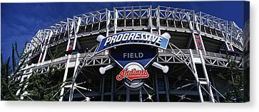 Low Angle View Of A Baseball Stadium Canvas Print