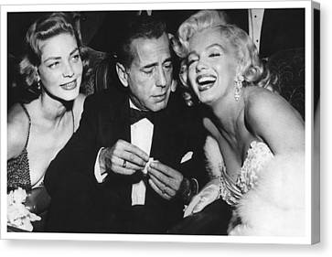 Marilyn Monroe Lauren Bacall Humphrey Bogart How To Marry A Millionaire Premiere November 4 1953 Canvas Print by Douglas MooreZart
