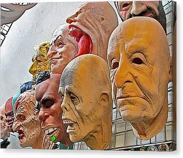 Masks. Next To Charles Bridge. Prague. Czech Republic. Canvas Print by Andy Za